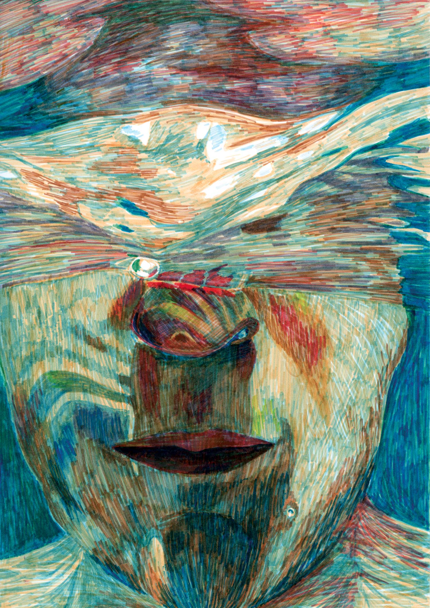 eau_mer_reflet_surface_visage_illustration_feutre_molesti